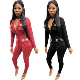 Wholesale Front Zipper Casual Jumpsuit Autumn Long Sleeve Pockets Spliced Slim Romper Women Letter Print Full Length Overall