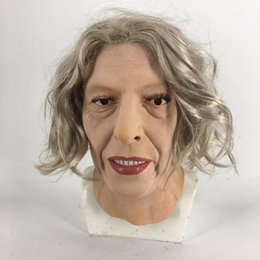 $enCountryForm.capitalKeyWord Australia - Fashion Latex Old Women Girl Party Cosplay Beauty Face For Party Mask Sexy Long Hair Carnival Mask Halloween crossdress face mask fancy dres