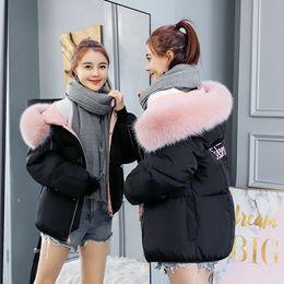 Womens Parkas Australia - 2018 Short Cotton-padded Jacket Fashion Winter Jacket for Women Fur Collar Spring Coat Women Black Womens Outerwear Parkas