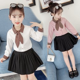 $enCountryForm.capitalKeyWord NZ - Fashion Autumn Chiffon Girl Blouses Cute Long Sleeve Cotton Solid Bow Shirts Baby Kids Clothes Toddler Girl Vestidos Child Tops