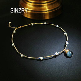 pearl choker necklace costume Australia - Sinzry Original Handmade Natural Stone Freshwater Pearl Elegant Chokers Necklace Band For Women Party Costume Jewelry Gift SH190721