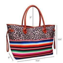 $enCountryForm.capitalKeyWord Australia - DOMIL Blanksmall Leopard Serape Weekender Bag Personalized Canvas Straw Purse Tribal Tote Bag Custom Southwest Travel Bag DOM-1081141
