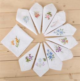 Besticktes Taschentuch für Damen mit weißem Rand und Ecke besticktes Taschentuch aus reiner Baumwolle