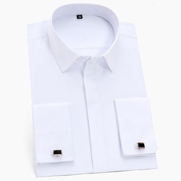 shirt man white french cuff Australia - New Arrival Men's French Cuff Dress Shirts Long Sleeve Social Work Business Non-iron Formal Men Solid White Shirt With Cufflinks