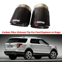 $enCountryForm.capitalKeyWord Australia - 2PCS Carbon Fiber Exhaust Tip For Ford Explorer Kuga Escape Carbon Fiber Akrapovic Muffler Tips Car Exhaust Pipes