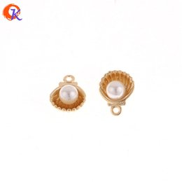 wholesale 100Pcs 9*12MM Jewelry Accessories Mini Pendant With Pearl DIY Earrings Making Hand Made Earring Findings on Sale