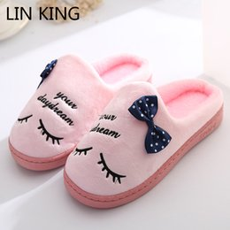 China LIN KING Sweet Eyelash Women Home Slippers Shoes Female House Indoor Shoes Lovely Bowtie Ladies Warm Winter Floor Cotton supplier women eyelashes suppliers