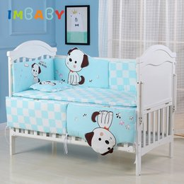Wholesale IMBABY Baby Bedding Set Crib Sides Bedding For Children Bed Linen Baby Bed Cotton Soft Bumper Pillowcase Infant Sheet