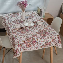 Restaurant Tablecloth Cotton NZ - New Southeast Asian ethnic cotton and linen tablecloth Vintage flower restaurant tablecloth Universal cover towel