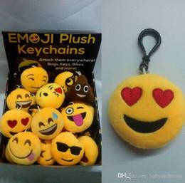 $enCountryForm.capitalKeyWord Australia - 2016 Keychains 6cm 10cm Emoji Smiley Small pendant Emotion Yellow QQ Expression Stuffed Plush doll toy bag pendant for 2016 Christmas gift