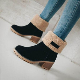 orange glitter shoes Australia - warm wool Boots women Female Ankle Boot Martin shoes High Heels Female Fashion Plus Size