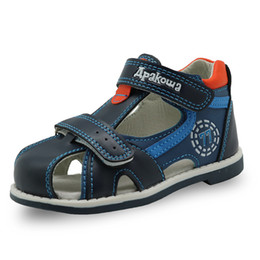 Brown Toddler Sandals Australia - Apakowa 2019 Summer Kids Shoes Brand Closed Toe Toddler Boys Sandals Orthopedic Sport Pu Leather Baby Boys Sandals Shoes Y19051504