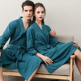 57bcf507d1 Unisex men and women Breathable Solid Color Bathrobe Splicing Home Clothes  Robe Coat thin section waffle Sleep robe Nightgown