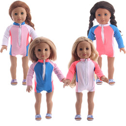 sun protection suits 2019 - Luckdoll Best Selling Doll Clothes Swimsuit Sun Protection Clothing Fit 18 Inch American 43cm Baby Doll Clothes Accessor
