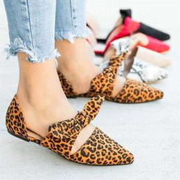 $enCountryForm.capitalKeyWord Australia - Europe 2019 New Women Shoes Flats Leopard Pointed Fashion Casual Shoes Woman Flock Butterfly-knot Slip-on Shallow Plus Size35-43