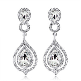 2019 New Shining Fashion Crystals Bridal Earrings Rhinestones Long Drop Earring For Women Bridal Jewelry Wedding Gift For Bridesmaids from sapphire pearl rings suppliers