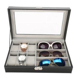 Простой 3 сетки очки 6 клеток часы ящик для хранения дисплей PU кожа ювелирные изделия часы организатор Box держатель для хранения