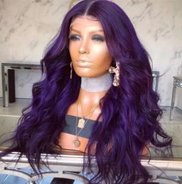 Long Colored Hair Australia - Purple Colored Glueless full lace wigs loose wavy virgin malaysian hair purple lace front wig for black women Free Shipping