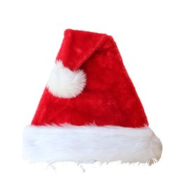 Beautiful girl hats online shopping - Christmas Hats Ornaments Decoration Red Beautiful Women Men Boys Girls Plush Hats Holiday Cap For Christmas Party Festival Gifts