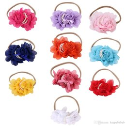 $enCountryForm.capitalKeyWord Australia - Chiffon Rose Flowers Headband With Pearl Children Hair Accessories Baby Head bands Flower Hair Accessory