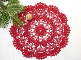 "crochet doily tablecloth UK - 2PCS Round red crochet doily, (32cm or 12.59""), red decor, gift, table centrepiece, coffee tablecloth, crochet decoration, wedding decoratio"
