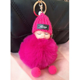$enCountryForm.capitalKeyWord Australia - Maxi Sweet Fluffy Pompom Sleeping Baby Key Chain Faux Rabbit Fur Pom pon Knitted Hat Baby Doll Keychain, Brithday Gift, Christmas Gift