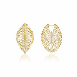 $enCountryForm.capitalKeyWord UK - Europe and America New Fashion Yellow Gold Plated Full CZ Shell Hoops Earrings for Girls Women Nice Gift for Friend