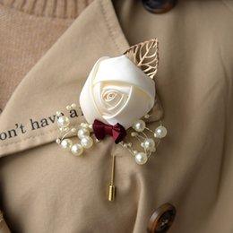 $enCountryForm.capitalKeyWord Australia - Rose Cloth Brooch Flower Multicolor Leaf Corsage Wedding Party Bride Decorative Brooch Flower 10 Pieces DHL