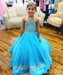 flower girl dresses turquoise white NZ - Turquoise Little Girl's Pageant Dresses Gowns 2019 Toddler Kids Ball Gown Glitz Flower Girl Dress Weddings Beaded Size Organza 4 6 8