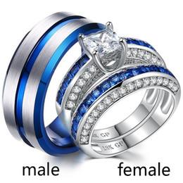 Tungsten Wedding Rings Australia - Sz6-12 (TWO RINGS) Couple Rings His Hers Men's Tungsten steel Ring sapphire 18k Platinum Women's Rings Wedding Jewelry