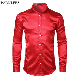 Stage Shirts Australia - Men's Slim Fit Silk Satin Dress Shirts Wedding Groom Stage Prom Shirt Men Long Sleeve Button Down Shirt Male Chemise Homme Red #456333