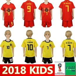 cdd583db273 2018 2019 Belgium HOME RED AWAY KIDS KIT World Cup yellow Soccer Jersey  KOMPANY DE BRUYNE E.HAZARD LUKAKU FELLAINI Custom Football Shirt