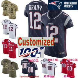 e994577fe Discount bowling jerseys - 100th anniversary Super Bowl custom Men youth  women New Tom Brady Rob