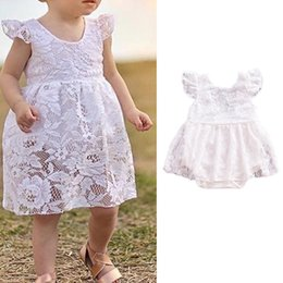 Girls Casual Lace Jumpsuit Australia - Kidlove Girl Cute Lace Embroider Princess Dress Fashionable Flying Sleeve Jumpsuits as Gift