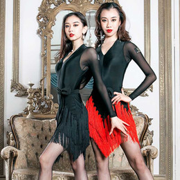 Wholesale long sleeve fringe dress resale online - Sexy Latin Dance Dress Women Dance Dress Red Fringe Skirt Long Sleeves Competition Salsa Adult Wear