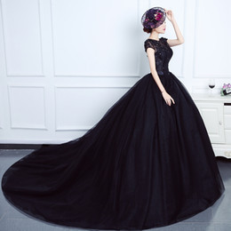 $enCountryForm.capitalKeyWord UK - Princess Black Gothic Wedding Dresses With Cap Sleeves Beaded Lace Tulle Corset Back Basque Waist Vintage Non White Bridal Gowns Custom