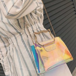 Cat bag wholesale online shopping - Women Laser Shoulder Bag Handbag Mini Chain Shoulder Bag Cat Handbag Lnclined Flap Bags Female Crossbody Handbags YY
