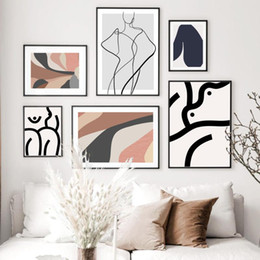 hill art UK - Minmalist Line Body Hill Leaves Wall Art Canvas Painting Abstract Posters And Prints Wall Pictures For Living Room Home Decor