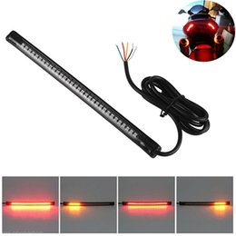 Motorcycle Brake Light Bulbs Australia - 2Pcs 48 LED Red&Amber Motorcycle License Plate Light Strip Tail Brake Stop Signal Lamp 50CM Cable Wire Integrated 3258 LED bulb