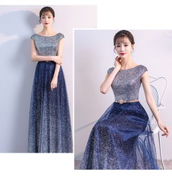 Cheap Sequined Dresses NZ - Sparkly Shinny 2018 Evening Dresses Cap Sleeves A-line Sequined Prom Dresses Sexy Cheap Bridesmaid Formal Party Gowns