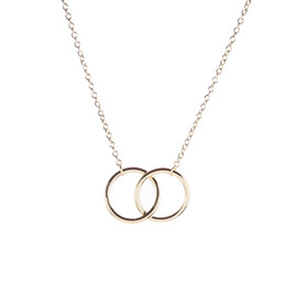 double rings chains UK - Double Circle Simple Geometric Necklace Gold Silver Double Ring Alloy Pendant Stainless Steel Ladies Jewelry Gift