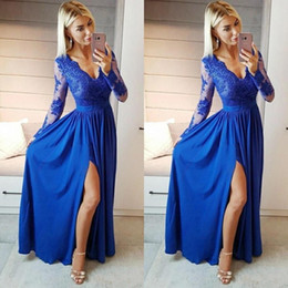 Wholesale hot silk brown gown for sale – plus size Sexy Lace Prom Dresses Deep V Neck High Side Split Illusion Long Sleeves Appliques Hot Formal Party Evening Gown Special Occasion Dress