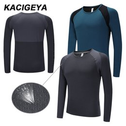 men slimming shirt compression Australia - Running Men Long Shirts Sportswear Compression Dry Fit Top Slim Gym Soccer Jerseys Bodybuilding Workout Shirts