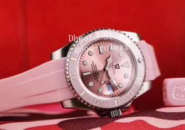 Pink ceramic watch online shopping - Mens Automatic Asia Baselworld Watch Men Pink Ceramic Bezel Pink Dial Sapphire Rubber Sport Casual Sub Watches Perpetual Wristwatches