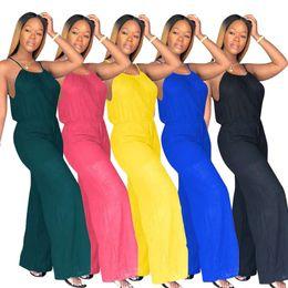 61d5b2e6a136 Women Loose Jumpsuit Rompers wide-leg Spaghetti strap jumpsuit pure color  plus size S-3XL one-piece lady clothes spring summer trou