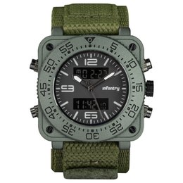 $enCountryForm.capitalKeyWord UK - INFANTRY Big Face Mens Military Square Case Dual Time Tactical Digital Analog Heavy Duty GreN hook and loop nylon Strap Wrist Watch