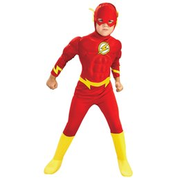Flash Costume UK - Boy The Flash Muscle Fancy Dress Kids Fantasy Justice League DC Comic Movie Carnival Party Halloween Cosplay Costumes