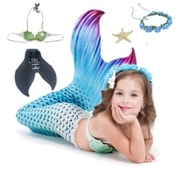 mermaid tail costume for kids 2019 - 5pcs set Children Kids Mermaid Tails For Swimming with Swimmable Kids Cosplay Costume Mermaid Swimsuit Tail Costume chea