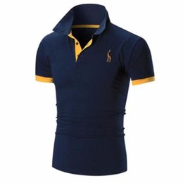 $enCountryForm.capitalKeyWord UK - Fashion-Mens T Shirt Brands 2019 Male Short Sleeve Casual Slim Solid Color Embroidery Deer Pattern T-Shirt Men XXXXL