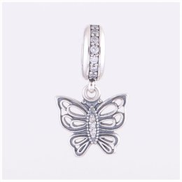 Vintage glass animals online shopping - Vintage Butterfly Charm Pendants Authentic Sterling Silver Jewelry Pave Crystal Charms Beads DIY Brand Logo Bracelets Accessories HB486